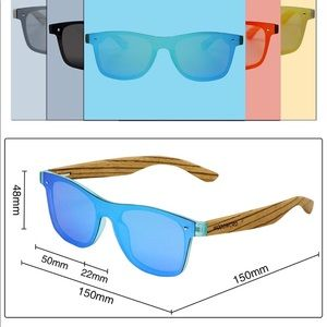 Woodword Accessories - New Woodword Wood Polarized Sunglasses w/ blue
